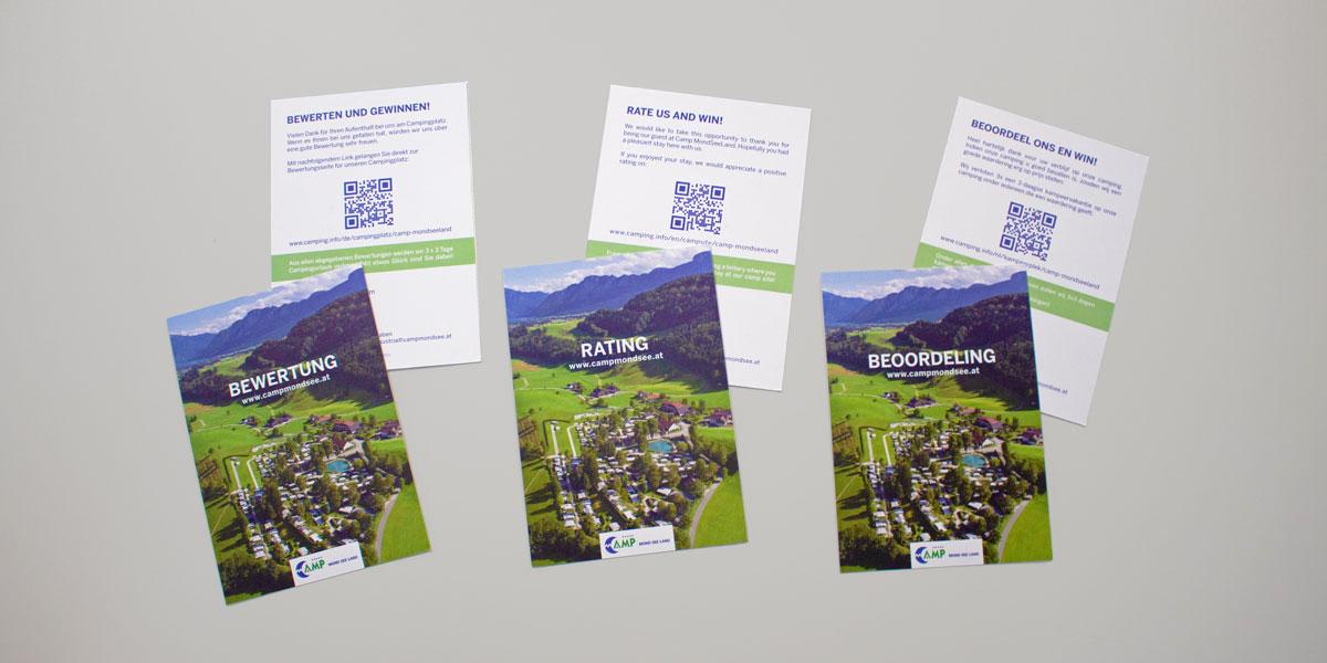 Camp Mondseeland Bewertungskarten