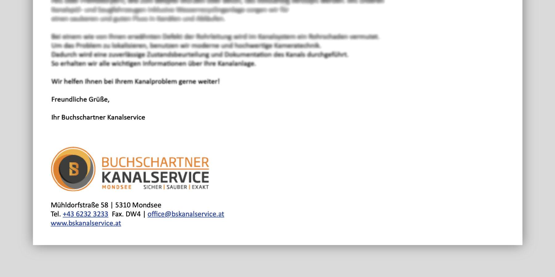 E-Mail Signatur Buchschartner Kanalservice